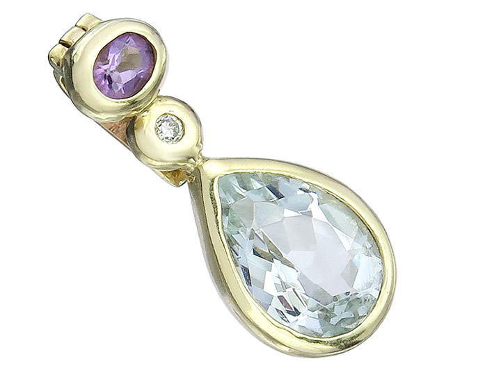 Pendant Aquamarin Lila Colored Stone Diamonds 14 Karat Yellow Gold