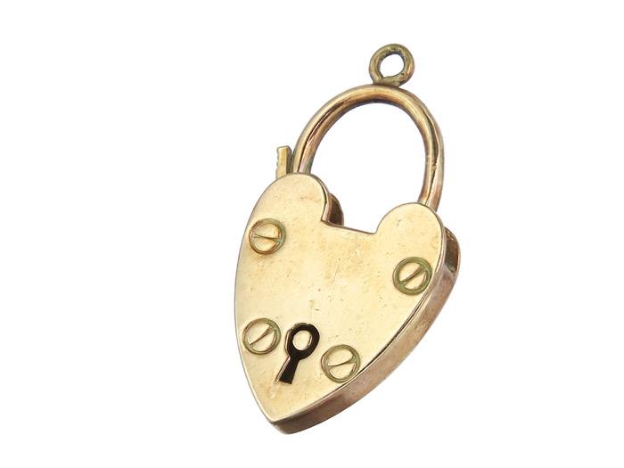 Anhänger Herz Schließe 375er Rotgold Antik