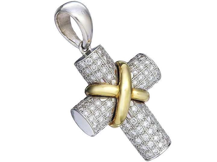 Pendant Cross Diamonds 18 Karat Gold Bicolor