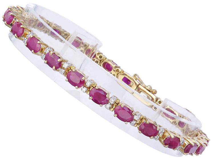 Armband Rubine Brillanten 585er Gelbgold