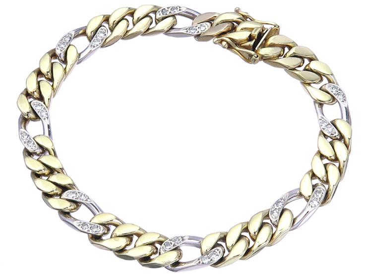Panzer Armband Diamanten 585er Gelb- und Weißgold