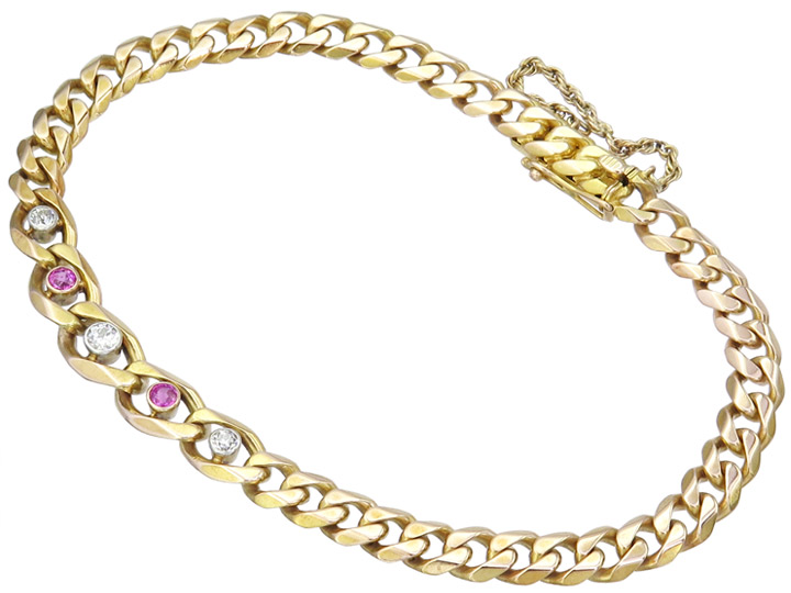 Bracelet Old Cut Diamonds Rubies 14 Karat Yellow Gold Antique