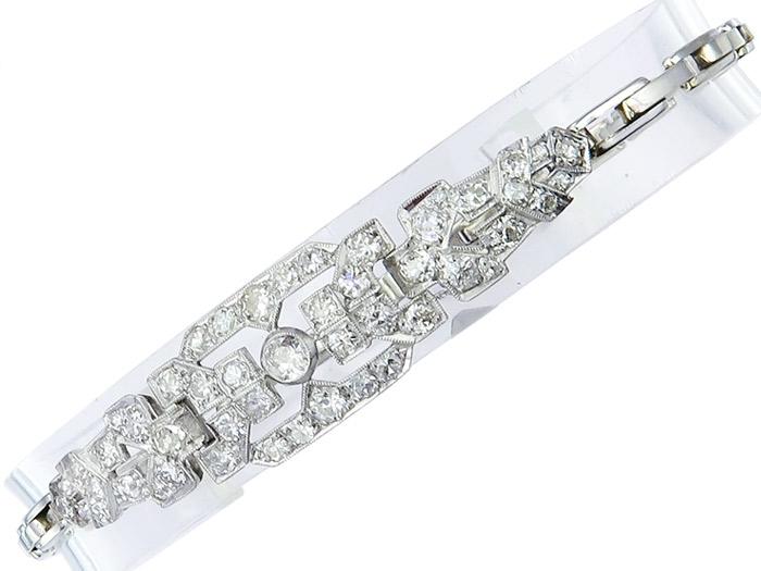 Armband Art Deco Altschliff Diamanten Flexband 750er Weissgold ca. 1920-30