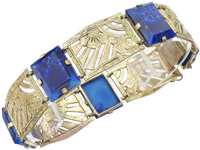 Bracelet Art Deco Blue Colored Stones Double approx. 1920-30