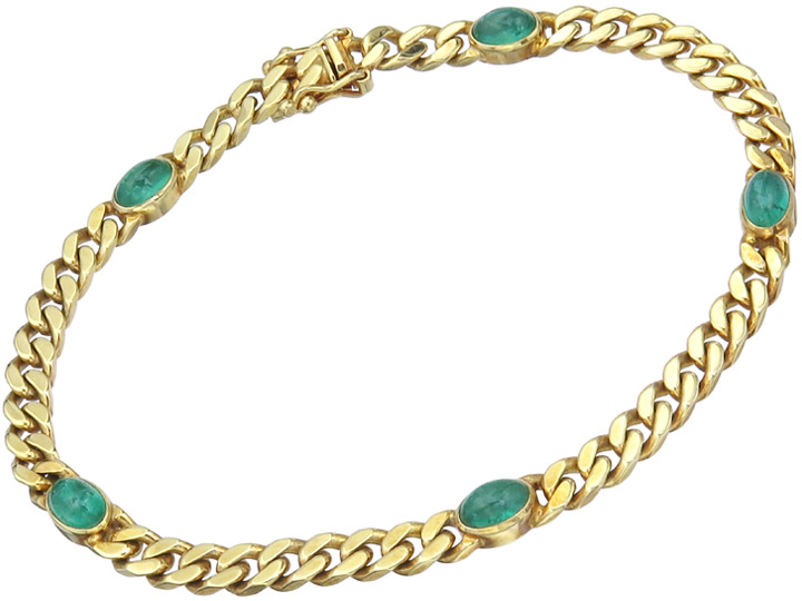 Bracelet Green Colored Stone Cabochons 14 Karat Yellow Gold