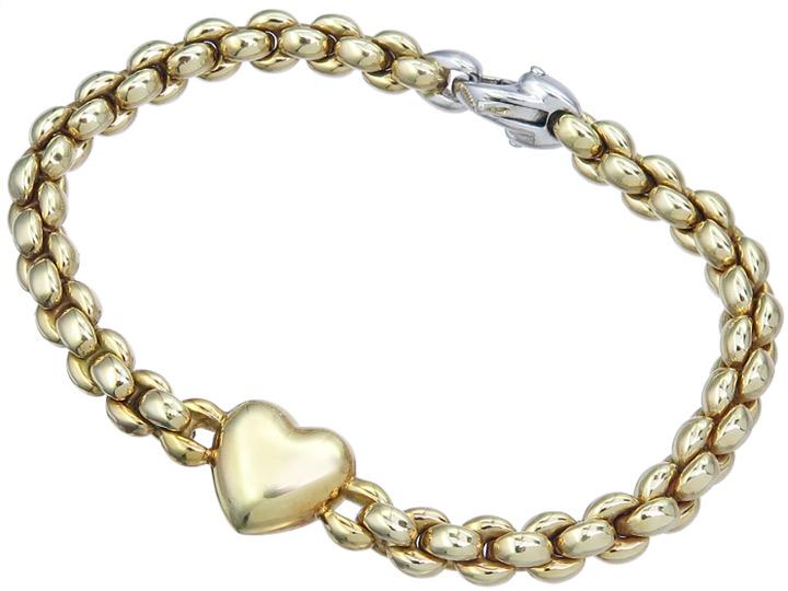 Armband Herz 585er Gelbgold Weissgold