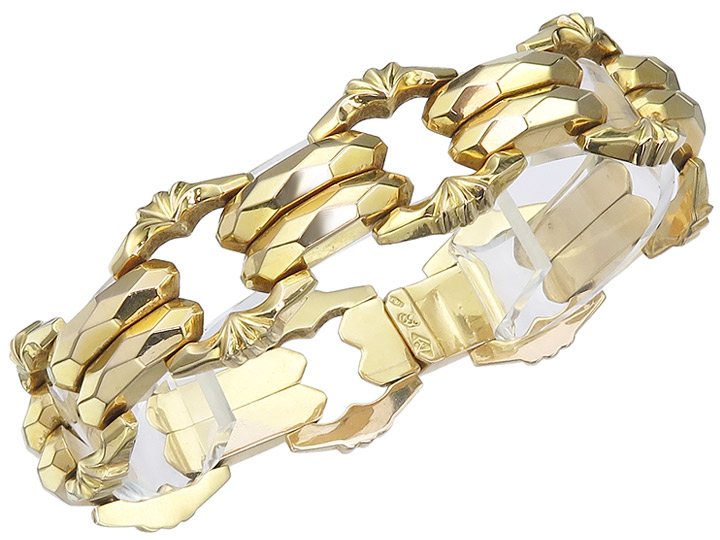 Bracelet 18 Karat Yellow Gold Retro approx. 1930-40