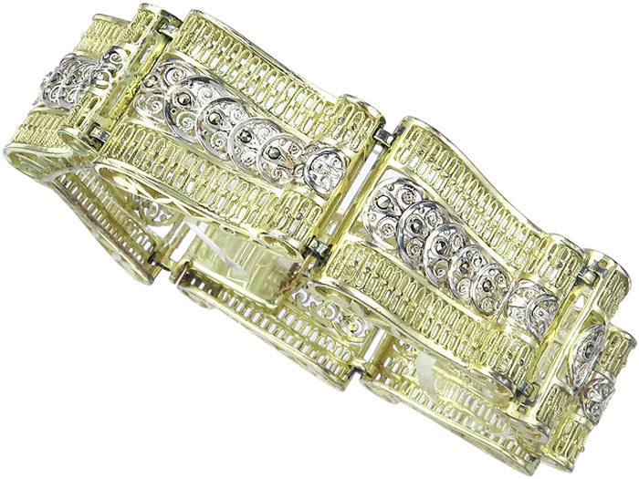 Armband Retro Markasiten Silber Vergoldet um 1940
