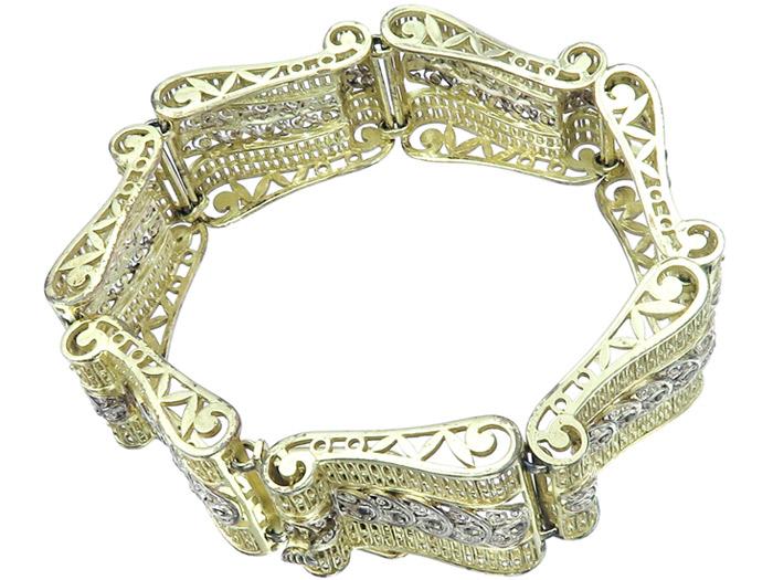 Armband Armband812 Vergoldet Um Markasiten 1940 Retro Silber doWxBerC