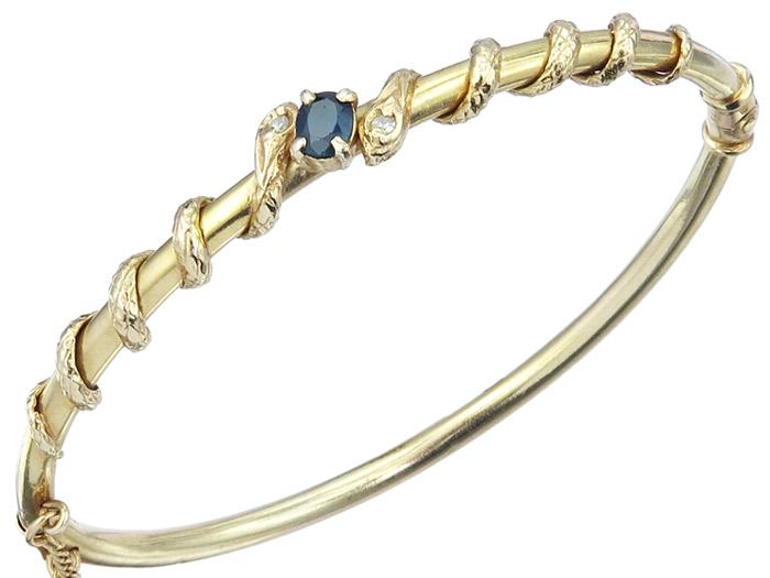 Schlangen Armreif Saphir Diamanten 585er Gelbgold