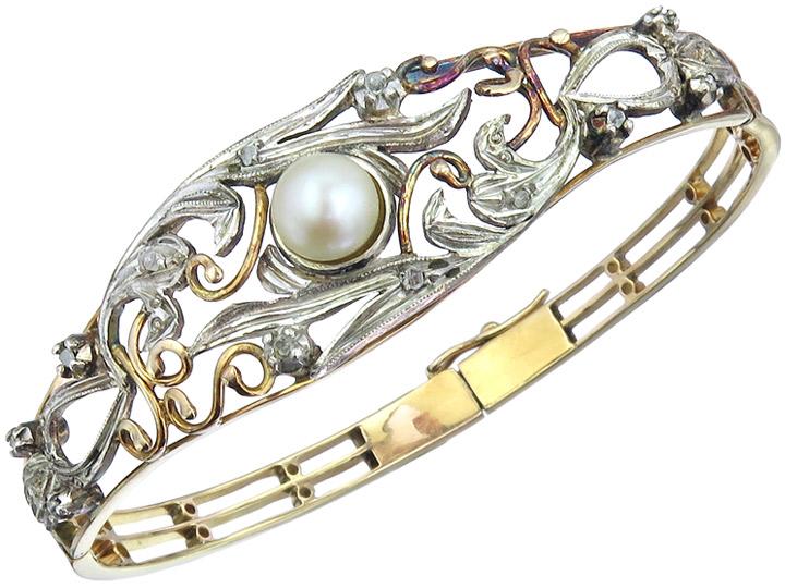 Armreif Perle Diamanten 750er Gelbgold Silber