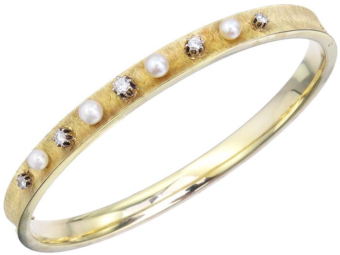 Armreif Perlen Brillanten 585er Gelbgold