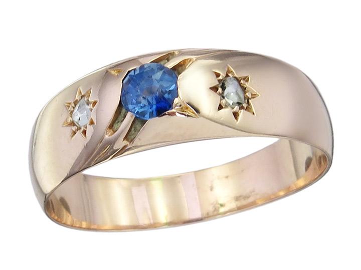 Band Ring Saphir Rosenschliff Diamant 585er Rosegold Antik