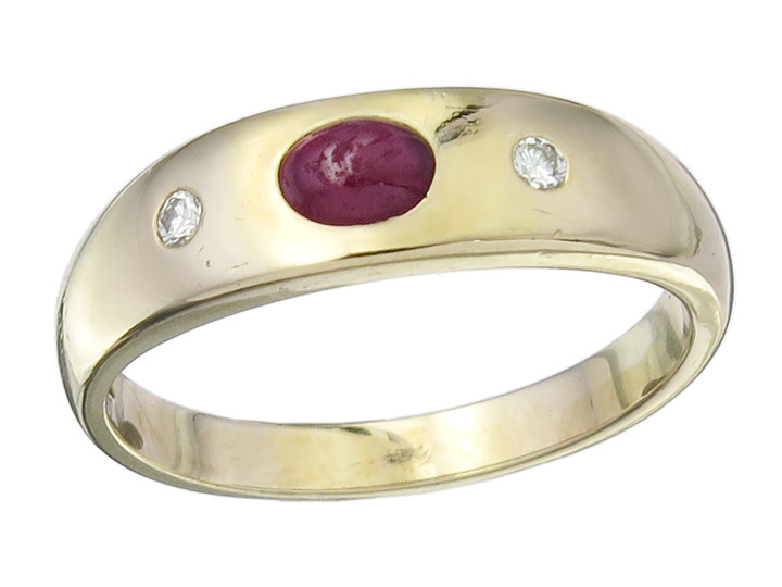 Gypsy Ring Ruby Diamonds 14 Karat Yellow Gold