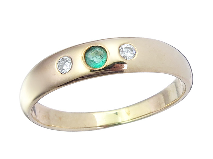 Bandring Smaragd Brillant 585er Gelbgold