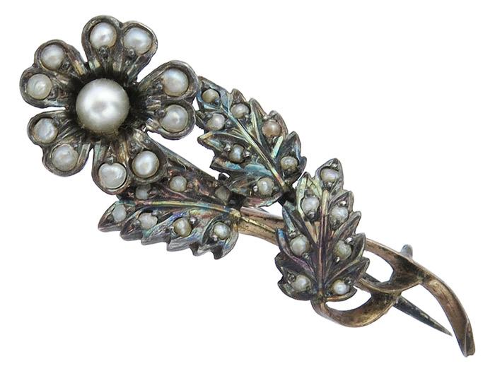 Blumen-Brosche Antik Perlchen 835er Silber ca. 1880-90