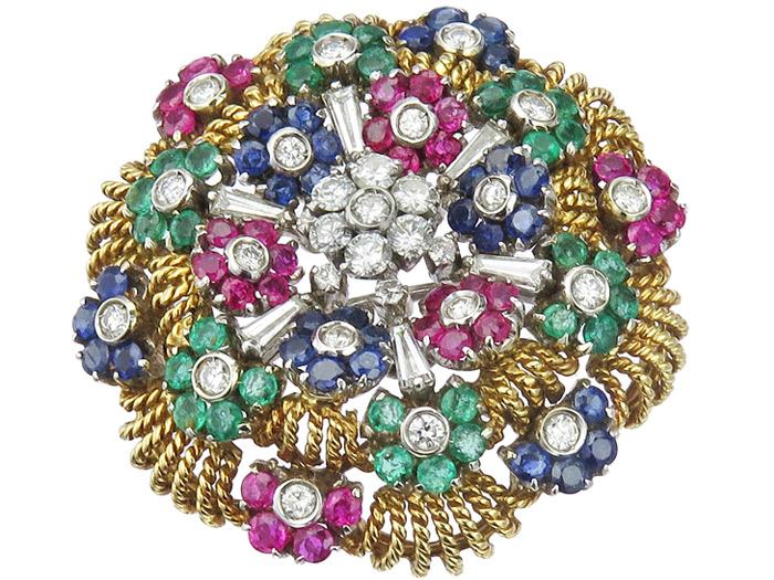 Brosche Brillanten Rubine Smaragde Saphire 750er Gold Zweifarbig