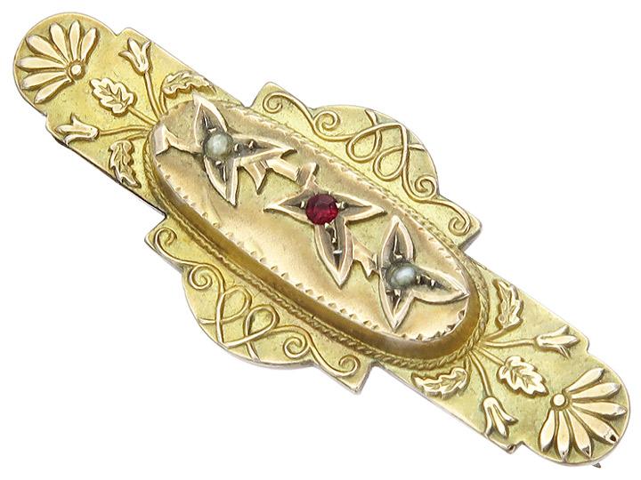 Brosche Perlchen Farbstein 375er Gelbgold Antik ca. 1910-20