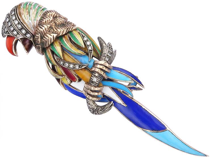 Papagei Brosche Diamanten Emaille Silber Vergoldet