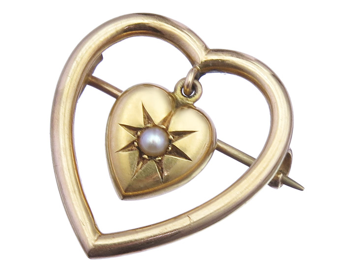 Brooch Hearts Pearl 18 Karat Yellow Gold Antique approx. 1900-1910