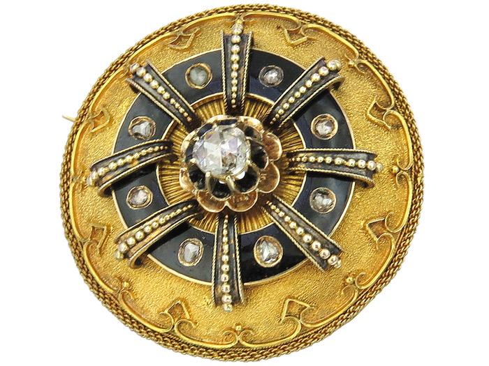Brosche Pendant Antique Rose Cut Diamonds Enamel Yellow Gold approx. 1860-80