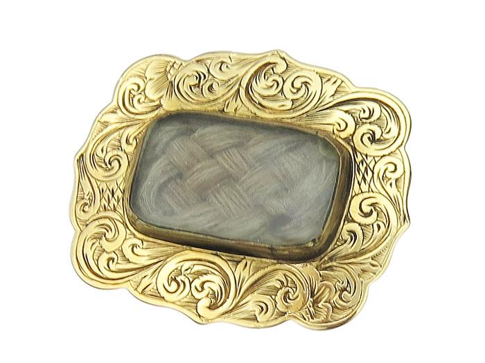 Brooch Antique Biedermeier Brooch Mourning Brooch Memor Brooch 1840-1850 585er Yellow Gold