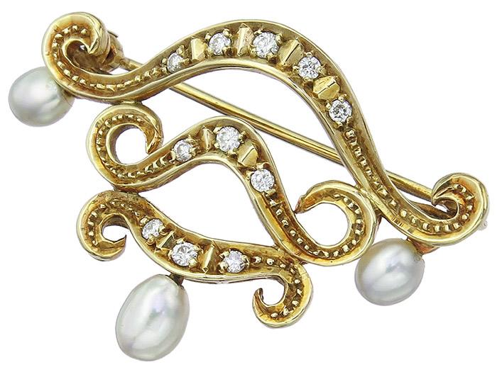 Brosche Brillanten Perlen 585er Gelbgold