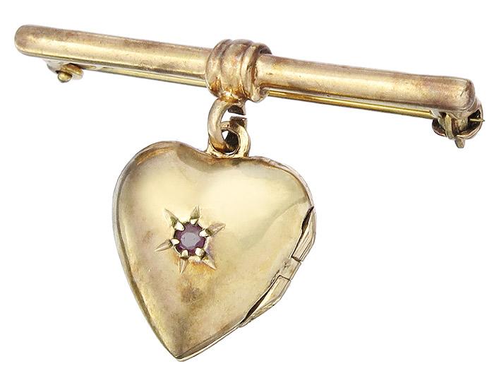Brosche Antik Herz Medaillon 333er Rosegold