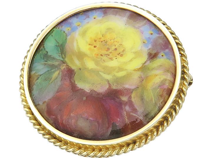 Brosche Porzellan Malerei  Rosen 585er Gelbgold