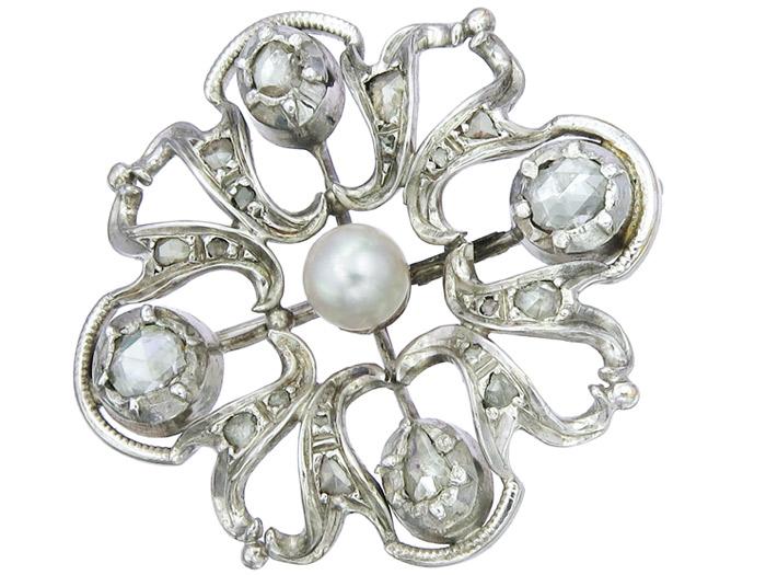 Brosche Perle Rosenschliff Diamanten 585er Weißgold Antik