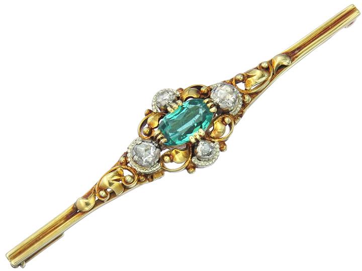 Brosche Grüner Farbstein Rosen Diamanten 585er Gelbgold ca. 1930-40