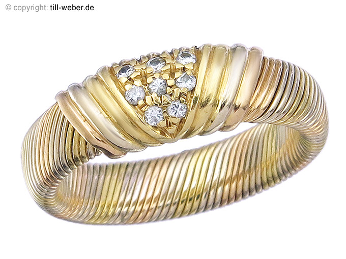 "Cartier Ring Vintage ""Diamonds"" 18 Carat Gold Mulitcolor appr. 1950-60"