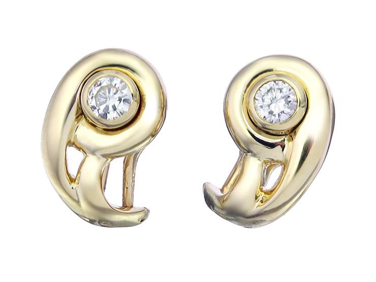 Cartier Earrings Diamond 18 Karat Yellow Gold Certificate