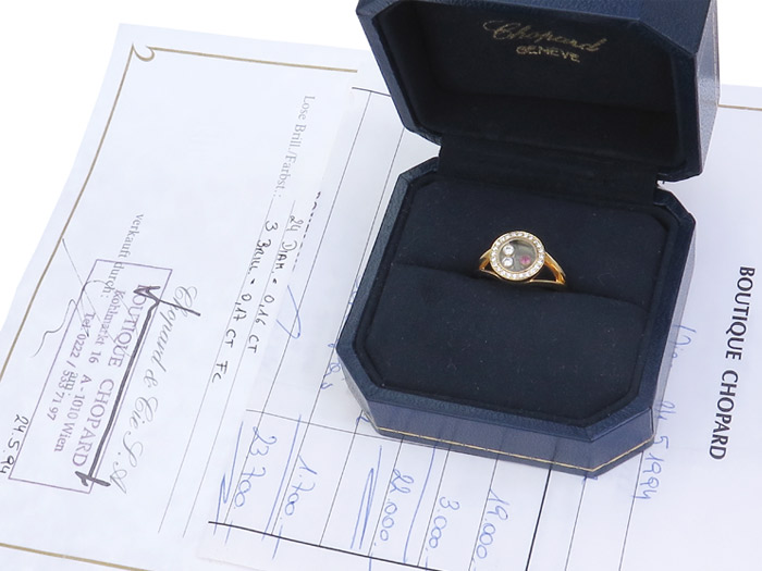 Chopard Ring HAPPY DIAMONDS Rubin Brillanten 750er Gelbgold Box
