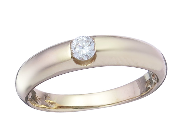 Ring Diamond approx. 0,15 Carat 14 Karat Yellow Gold