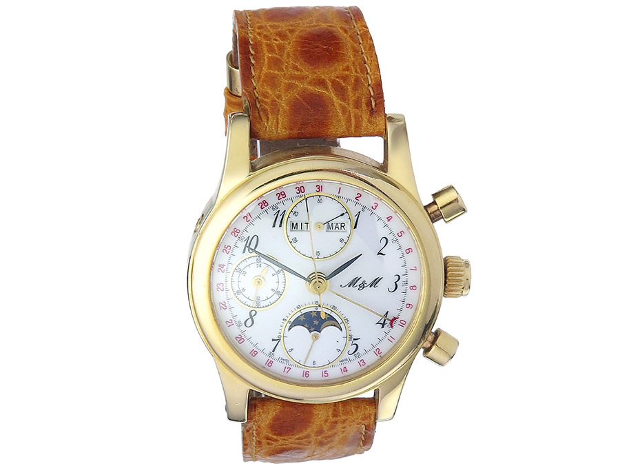 M & M Chronograph Gold Triple Date Moonphase