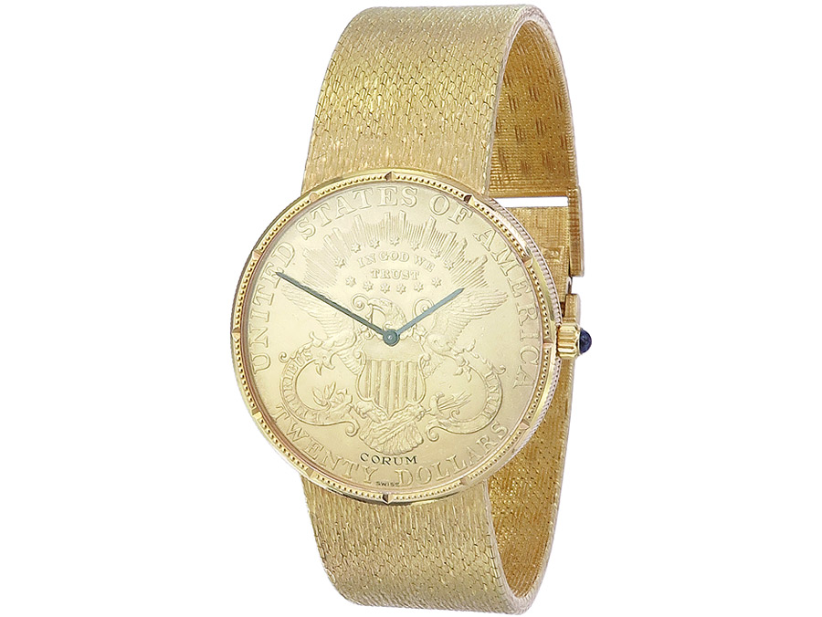 Corum 20 Dollar Coin Watch Gold Papers from 1974