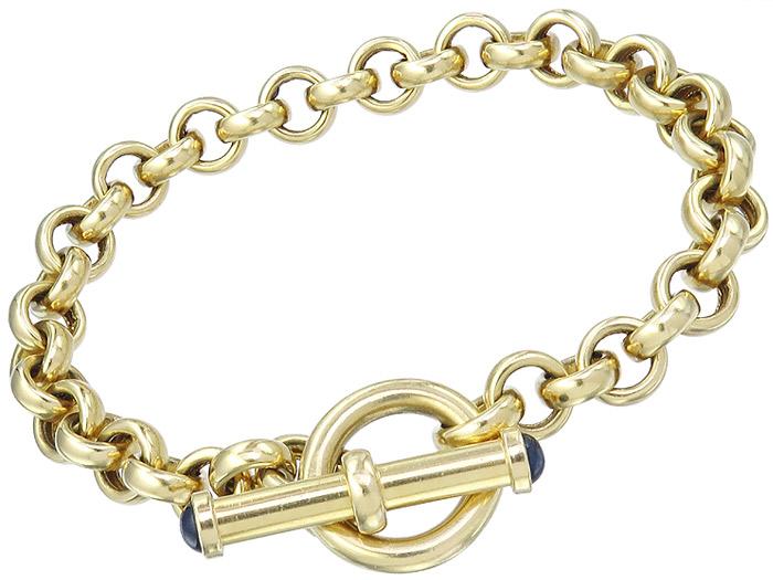 Armband Erbsarmband Knebelverschluss Saphir Cabochon 750er Gelbgold