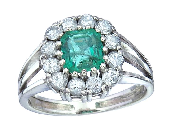 Freisfeld Ring Emerald Diamonds 14 Karat White Gold Certificate