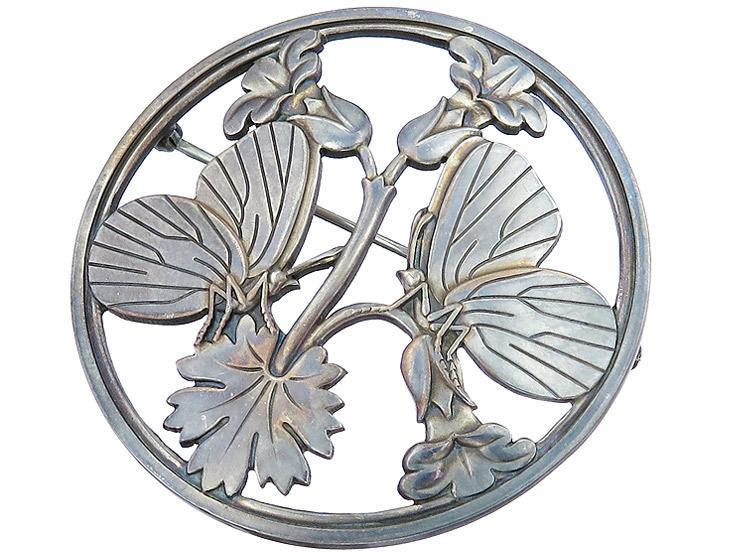Georg Jensen Brosche Schmetterlinge 925er Silber ca. 1960