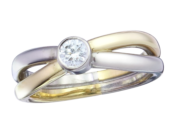 Georg Jensen Solitaire Ring Diamond 18 Karat Yellow and White Gold
