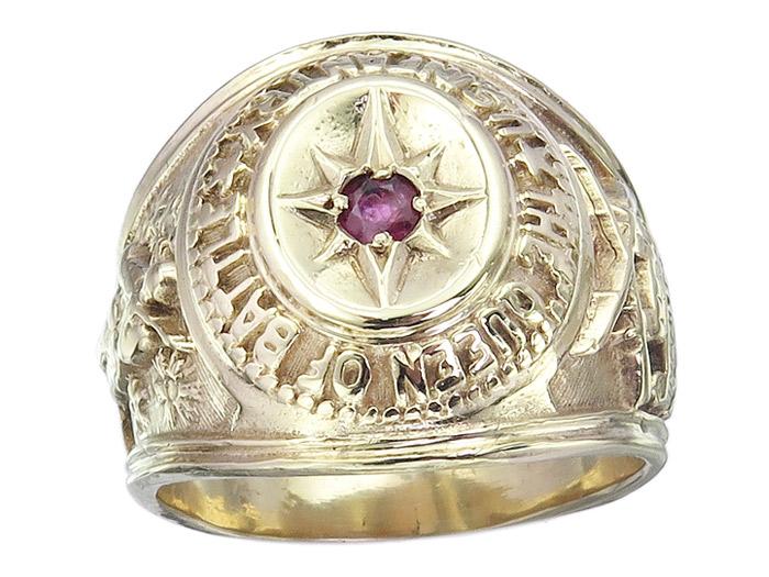 Ring Herrenring US Infantry The Queen of Battle 585er Gelbgold