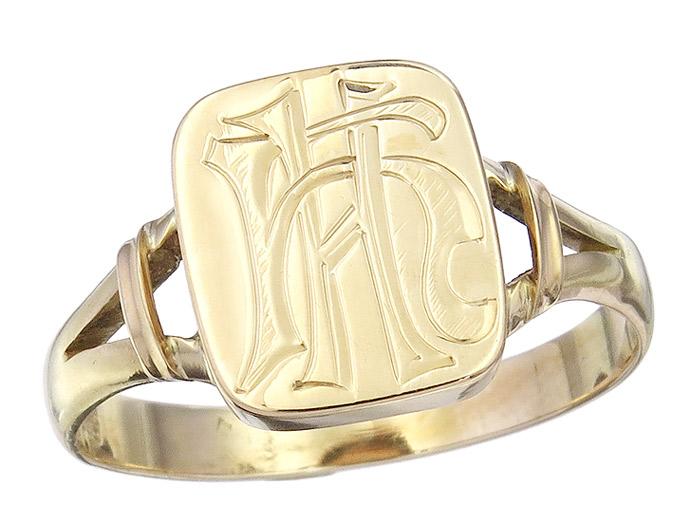 Herren Ring Monogramm 585er Gelbgold Antik ca. 1910