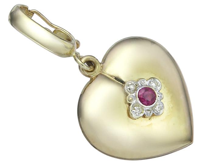 Herz Anhänger Granat Diamanten 585er Gelbgold