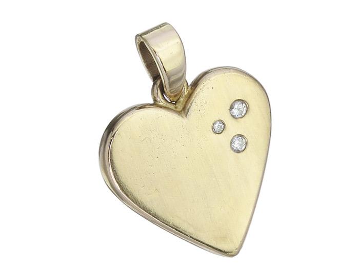 Herz Anhänger 750er Gelbgold Brillanten