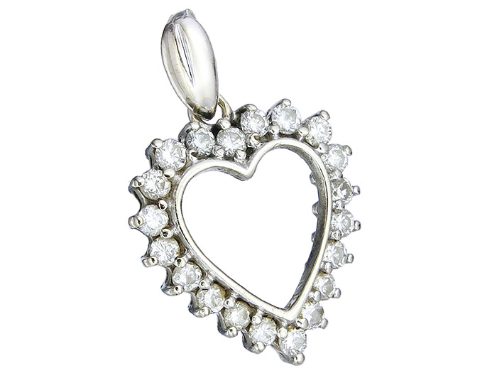 Heart Pendant Diamonds 14 Karat White Gold