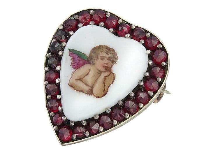 Brosche Herz Porzellan Engel Rote Farbsteine