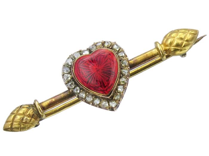 Brosche Antik Herz Diamanten Feuervergoldet um 1910