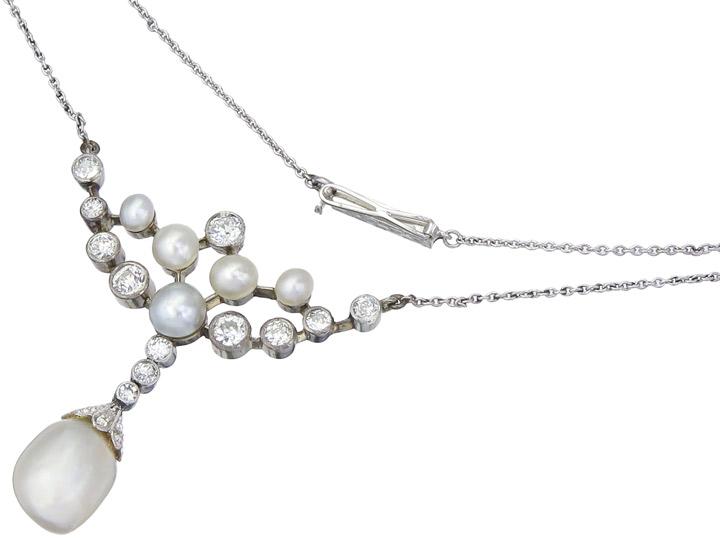 Collier Orientperle Diamanten 585er Weissgold Antik ca. 1910-20 Zertifikat