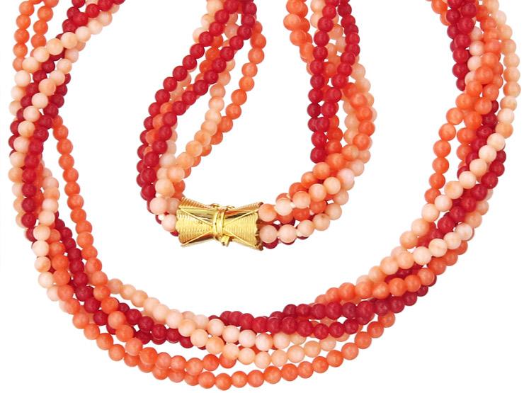 Korallen Collier Dreifarbig 585er Gelbgold